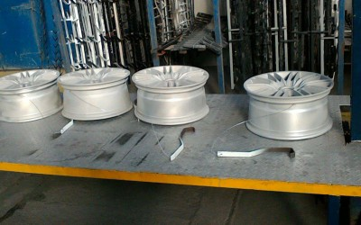 These wheels have been blasted and checked for damage which we have corrected prior to Powder Coating.