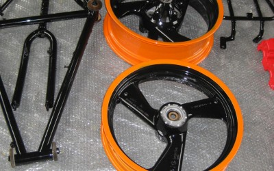 Extreme colours such as the above or basic colours can be applied to all motorcycle parts as required.